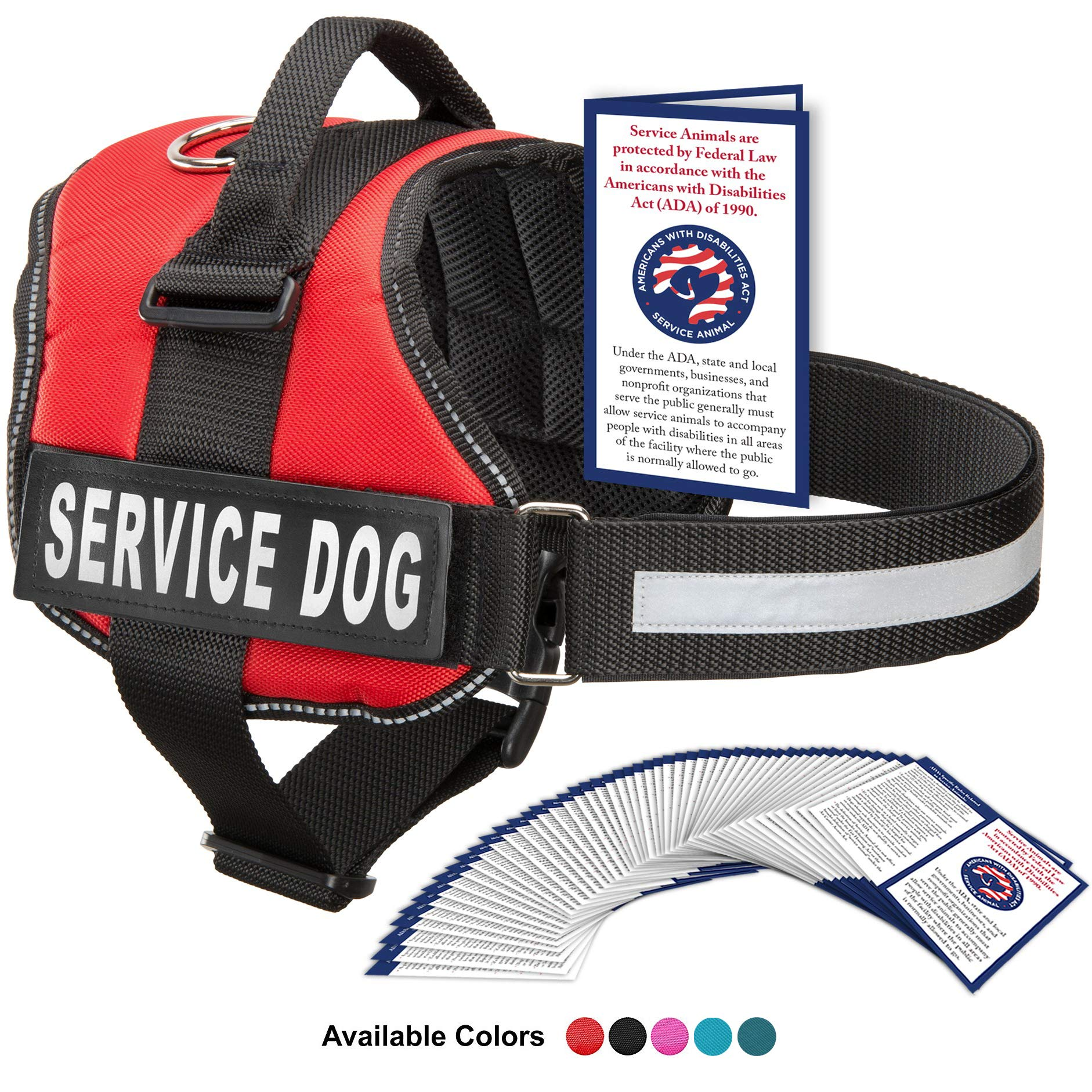 Service Dog Vest With Hook and Loop Straps and Handle - Harness is Available in 8 Sizes From XXXS to XXL - Service Dog Harness Features Reflective Patch and Comfortable Mesh Design (Red, Large) by Industrial Puppy