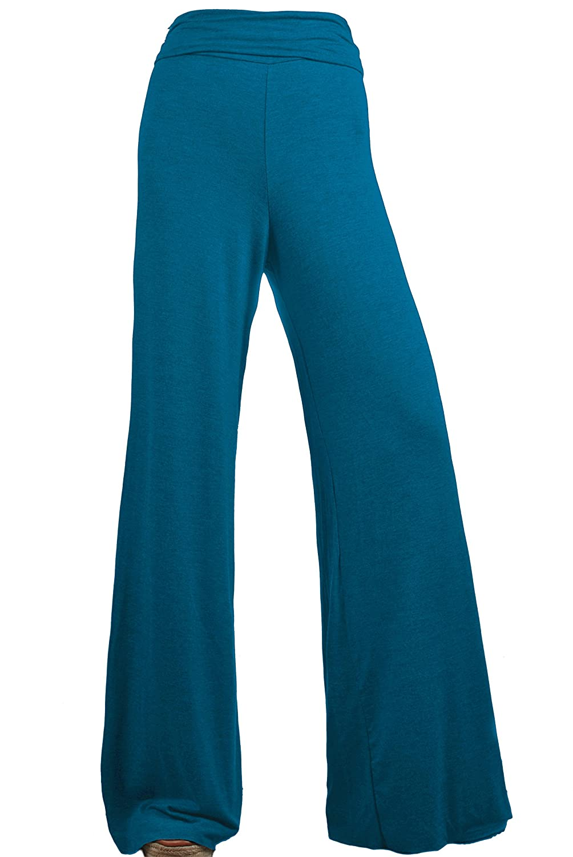 ViiViiKay Women's Maternity Wear Fold-Over Waist Wide Leg Stretchy Palazzo Pants