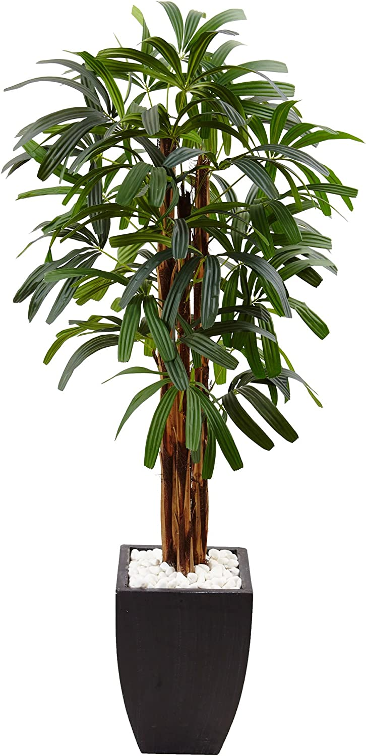 Nearly Natural 5.5' Raphis Palm Artificial Tree in Black Planter, Green