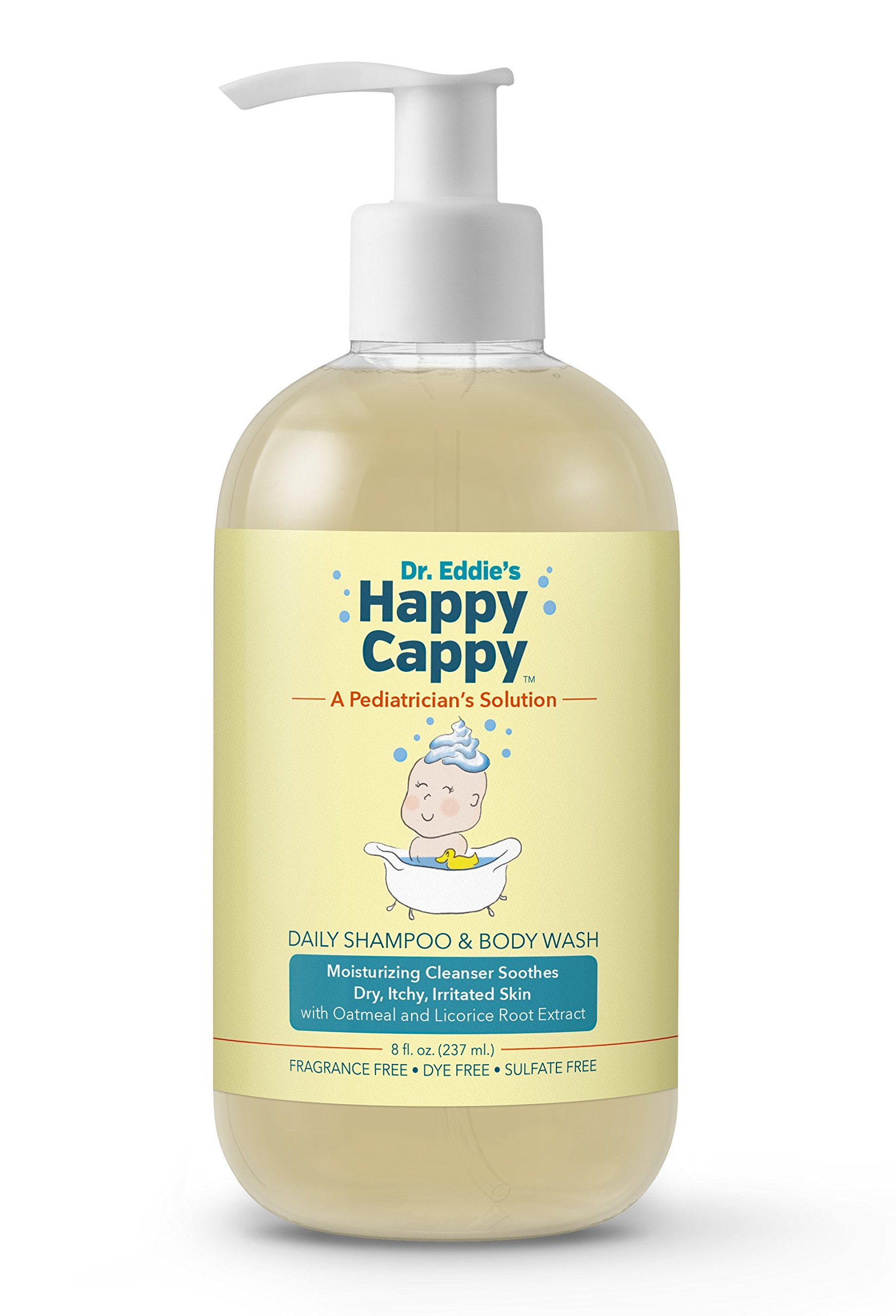 Dr. Eddie's Happy Cappy Daily Shampoo & Body Wash for Children, Fragrance Free, Moisturizing Cleanser Soothes Sensitive Scalps and Skin, 8 oz