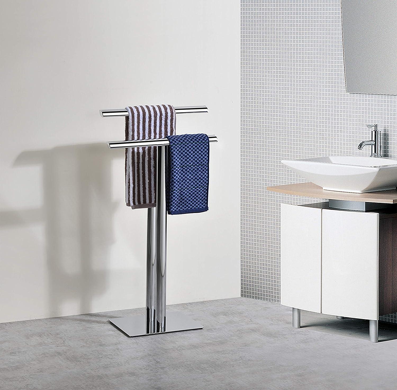 Kings Brand Furniture - Metal Modern Free-Standing Towel Rack Stand, Chrome