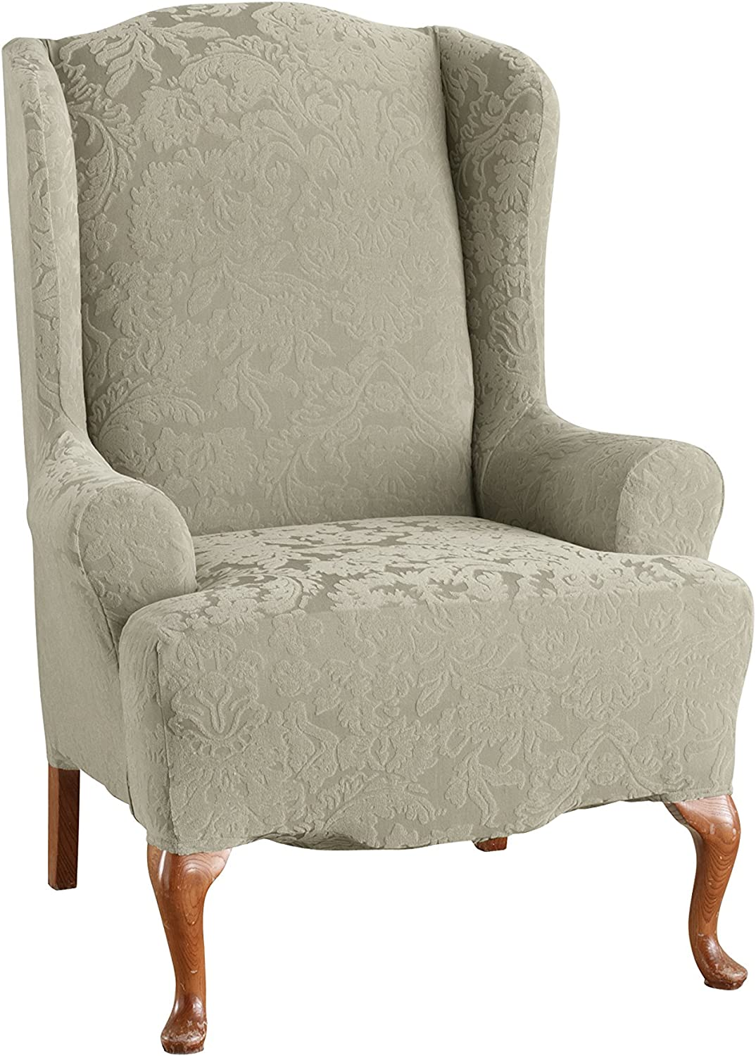 SureFit Stretch Jacquard Damask - Wing Chair Slipcover - Sage (SF39616)