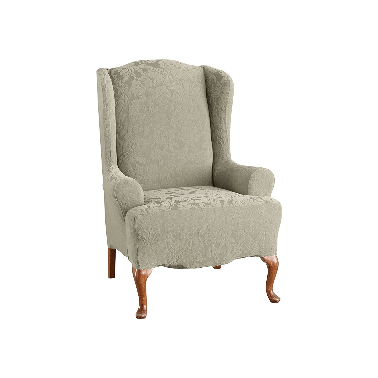 Sure Fit 39616 1 Peice Stretch Jacquard Damask Wing Chair, Sage SF39616