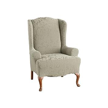 Amazon Com Surefit Stretch Jacquard Damask Wing Chair Slipcover