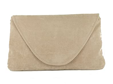 Loni Womens Attractive Large Faux Suede Clutch Bag/Shoulder Bag ...
