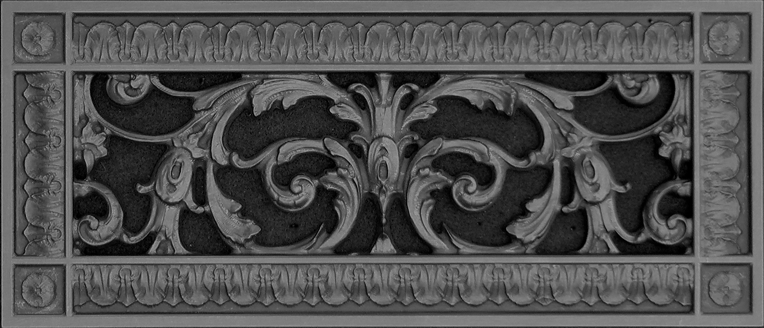 """Decorative Vent Cover, Grille, Return Register, Made of Urethane Resin, in French Style fits Over a 4""""x 12"""" Duct Opening. Total Size, 6"""" x 14"""", Walls & Ceilings use only(not for Floors) (Black)"""
