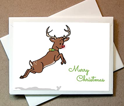 Reindeer Christmas Cards.Amazon Com Personalized Christmas Cards Rudolph The