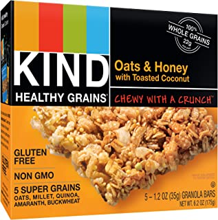 product image for KIND Healthy Grains Bars, Oats & Honey with Toasted Coconut, Non GMO, Gluten Free, 1.2oz, 5 Count (Pack of 3)