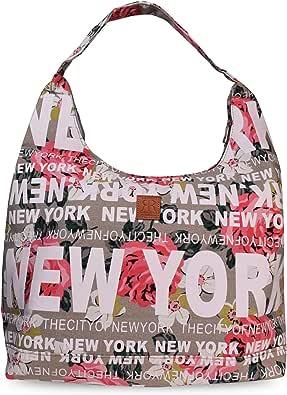 Robin Ruth City Shoulder Bag With NEW YORK CITY Print– Casual Hobo Shoulder Bag For Women