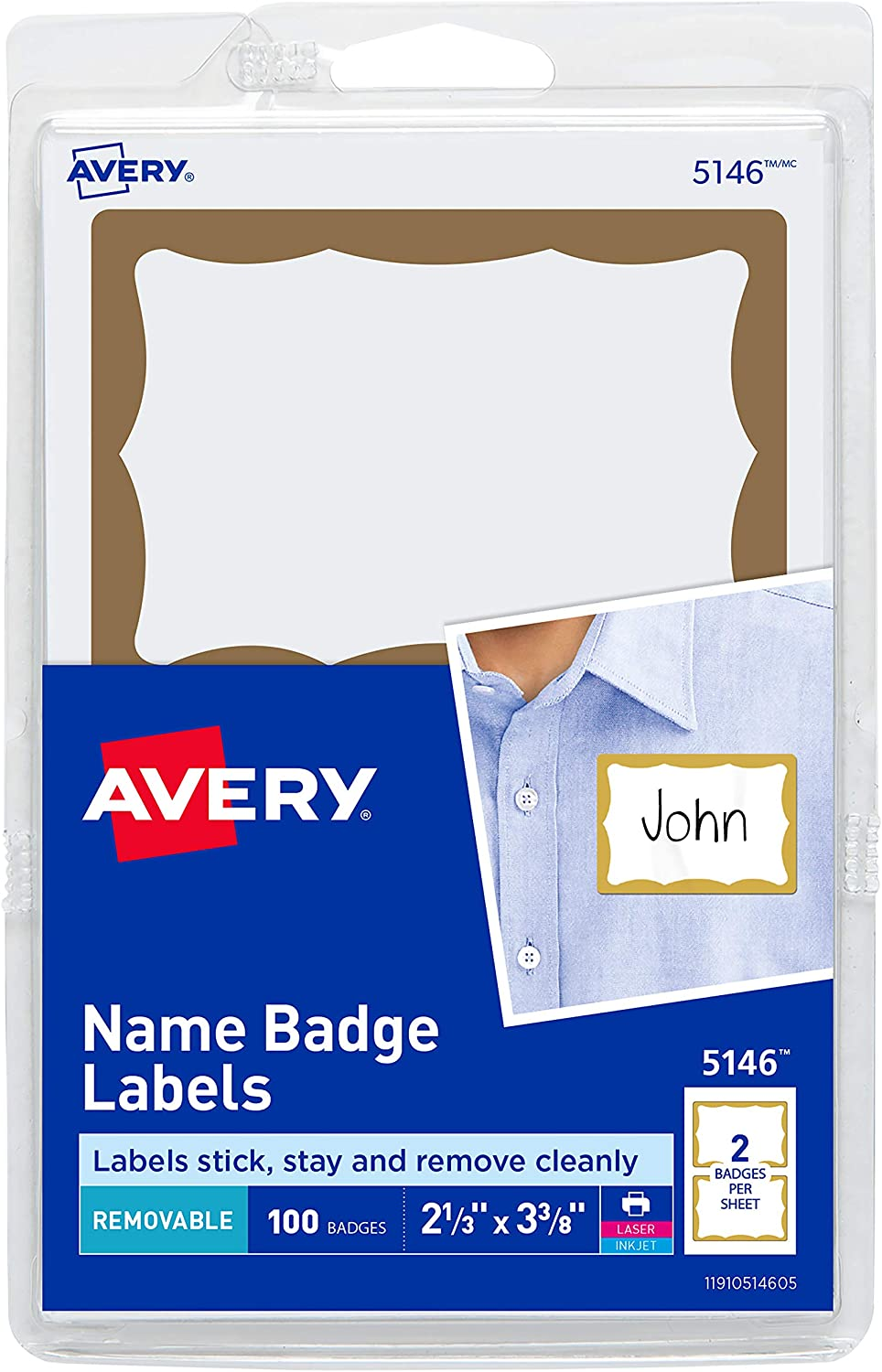 Avery Name Tag Stickers, Gold Border, Print or Write, 100 Removable Name Badges, 2-1/3
