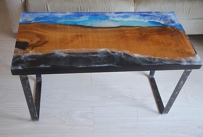 Coffee Table Tavolo Da Salotto In Legno E Resina Epossidica Tavolino Mare Naturale Cucina Rustico Design Moderno Arredamento Negozio Amazon It Handmade
