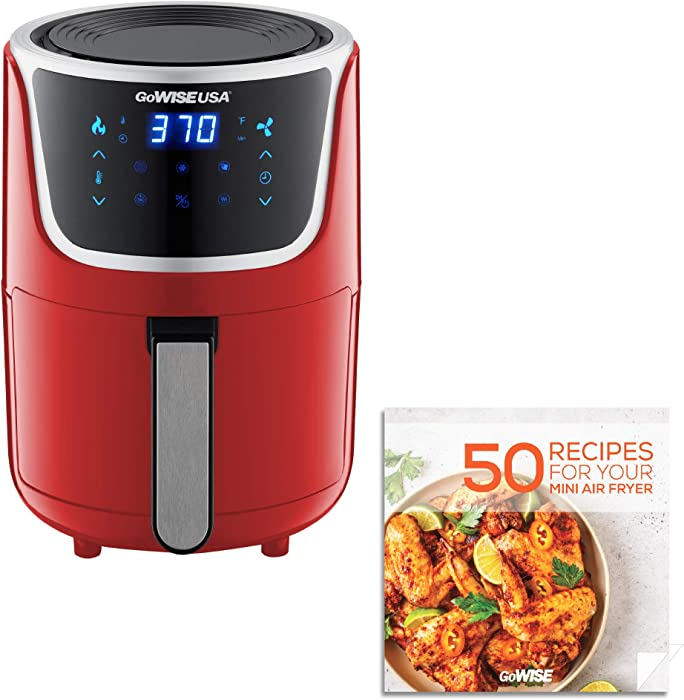 GoWISE USA GW22977 Electric Mini Air Fryer with Digital Touchscreen + Recipe Book, 1.7 2 Qt Max, 2.0, Red/Silver