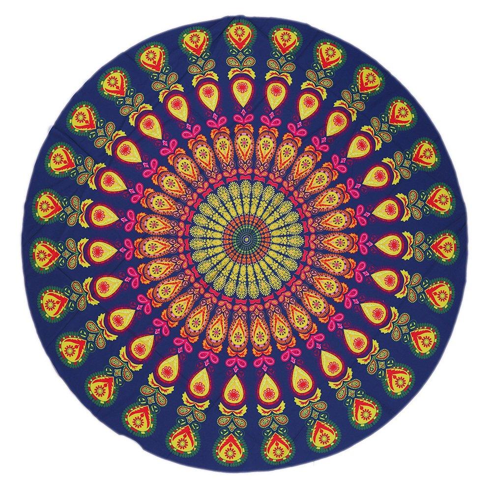 YJ BearラウンドIndian Mandala BohoビーチタオルThrow Roundieテーブル布カバーヨガマット毛布Wall Hangingタペストリー ブルー YJB-AGM-536264951497-13 B071CS48J9 Pattern 23 Pattern 23