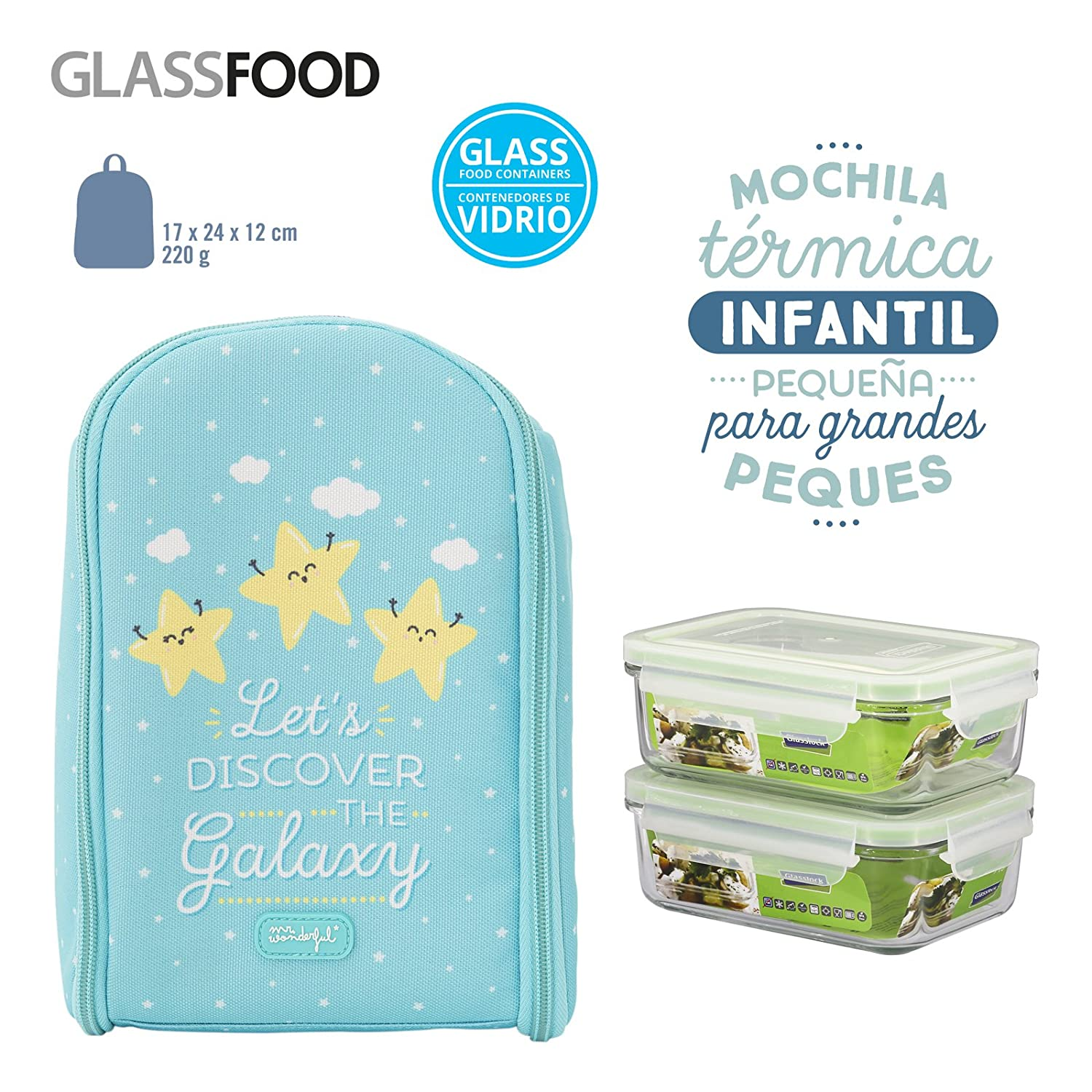 Pack Mochila Térmica Infantil Mr. Wonderful y 2 Taper Glasslock de Vidrio Hermeticos de 0.4L, Medidas 17 x 24 x 12 cm, Modelo Estrellas: Amazon.es: Bebé