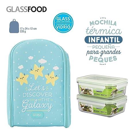 Pack Mochila Térmica Infantil Mr. Wonderful y 2 Taper Glasslock de Vidrio Hermeticos de 0.4