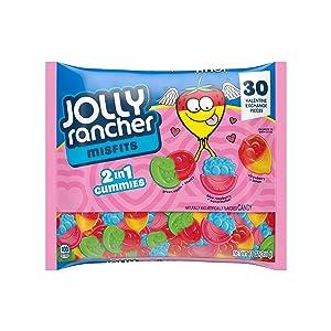 JOLLY RANCHER MISFITS Valentine Exchange Assorted Fruit Flavor Gummy Candy, Valentine's Day, 11 Oz., Bag (30 Pieces)