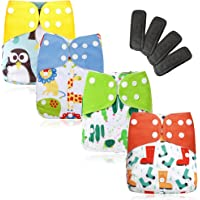 Eco Mom 4 Pieces All in One Baby Cloth Diaper Set Reusable Washable Highly Absorbent Eco-Friendly with 4 Pieces Charcoal…
