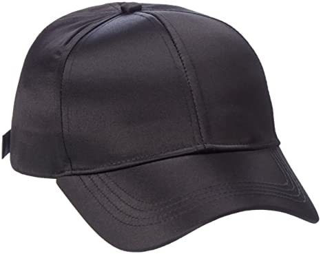 Womens Pcrivina Satin Baseball Cap, Black, One Size Pieces
