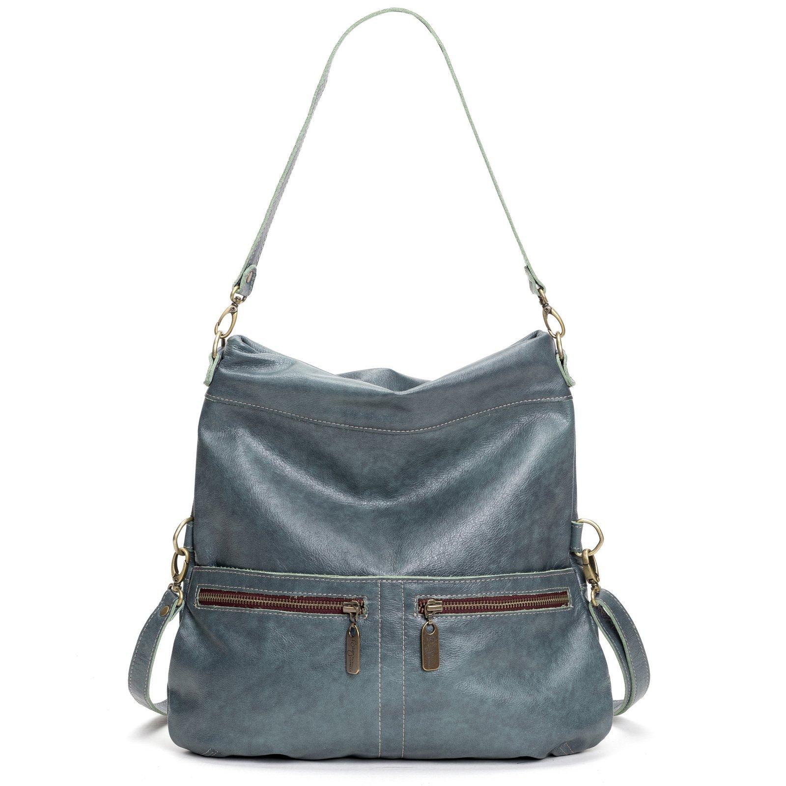 Medium Navy Italian Leather Crossbody Versatile Handbag