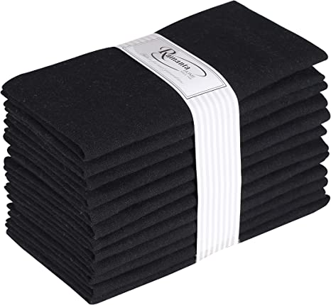 Amazon Com Ramanta Home 12 Pack 100 Cotton Dinner Napkins 18 By 18 Inch Soft Absorbent Comfortable Ideal For Events And Regular Use Black Home Kitchen