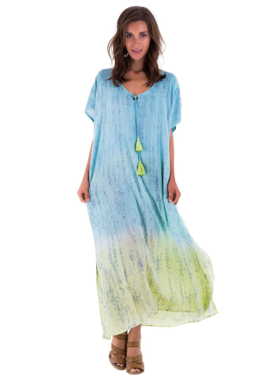 91ddd43de1ff SHU-SHI Long Caftan Tie Dye Dress Short Sleeves With Tassle String ...