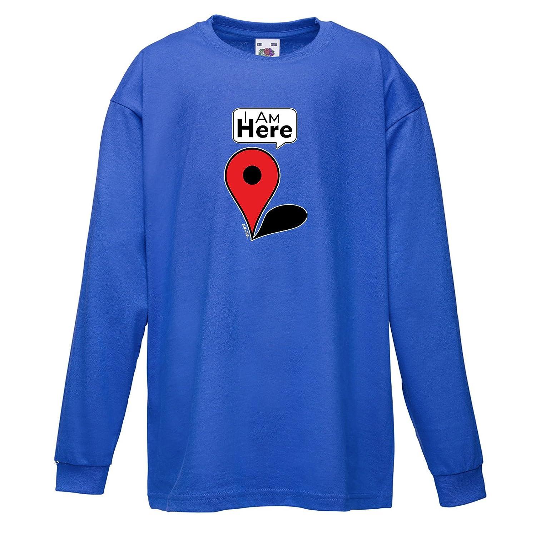 Kids Funny Slogans T Shirts-I am Here-Google Maps Symbol Tshirt-Funny Gifts