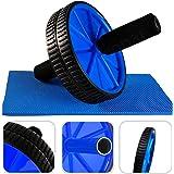 Todeco - Ab Roller avec Tapis pour Genoux, Roue Abdominale - Charge maximale: 100 kg - Matériau: Mousse haute densité - Bleu
