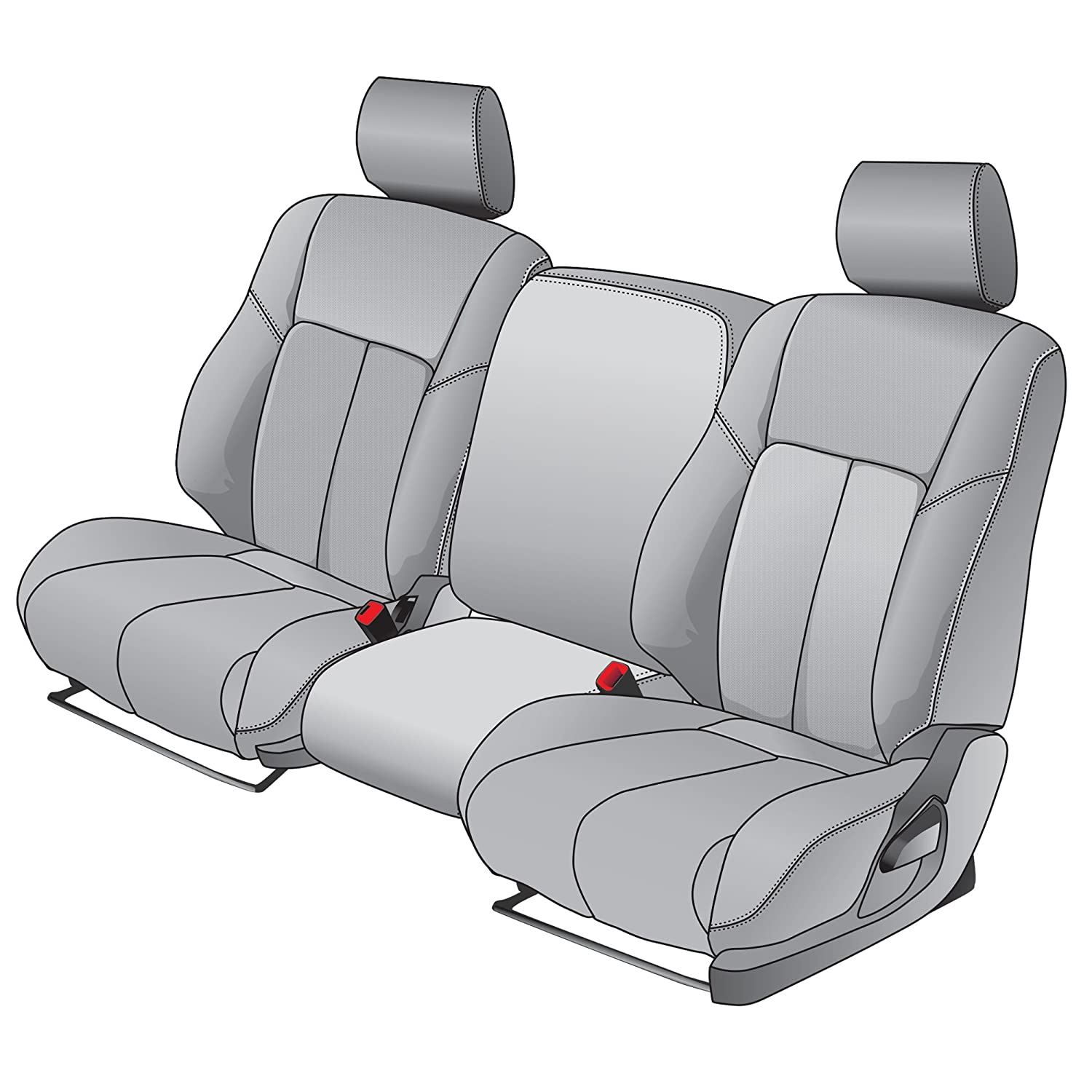 Clazzio 753541lgy Light Grey Leather Front Row Seat Cover for Chevrolet Tahoe//Suburban
