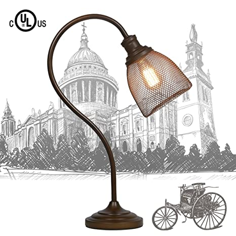 My Canary Vintage Desk Lamp With Cage Light,Antiqued Bronze Wrought Iron  Lamp For Desks