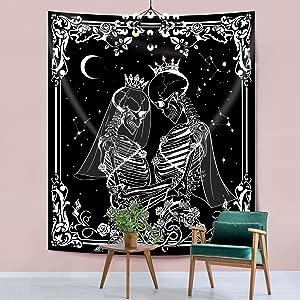 "Hexagram Skull Tapestry Black and White The Kissing Lovers Tapestry Wall Hanging Aesthetic Human Skeleton Tapestries Romantic Love Tarot Wall Tapestry for Living Room Bedroom Dorm Decoration, 51""x59"""