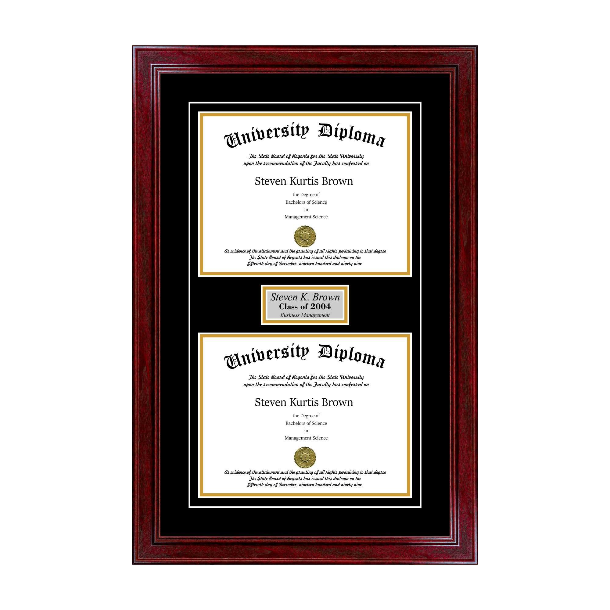 Personalized Double Diploma Frame with Double Matting for 8.5'' x 11'' Tall Diploma with Cherry 1.5'' Frame