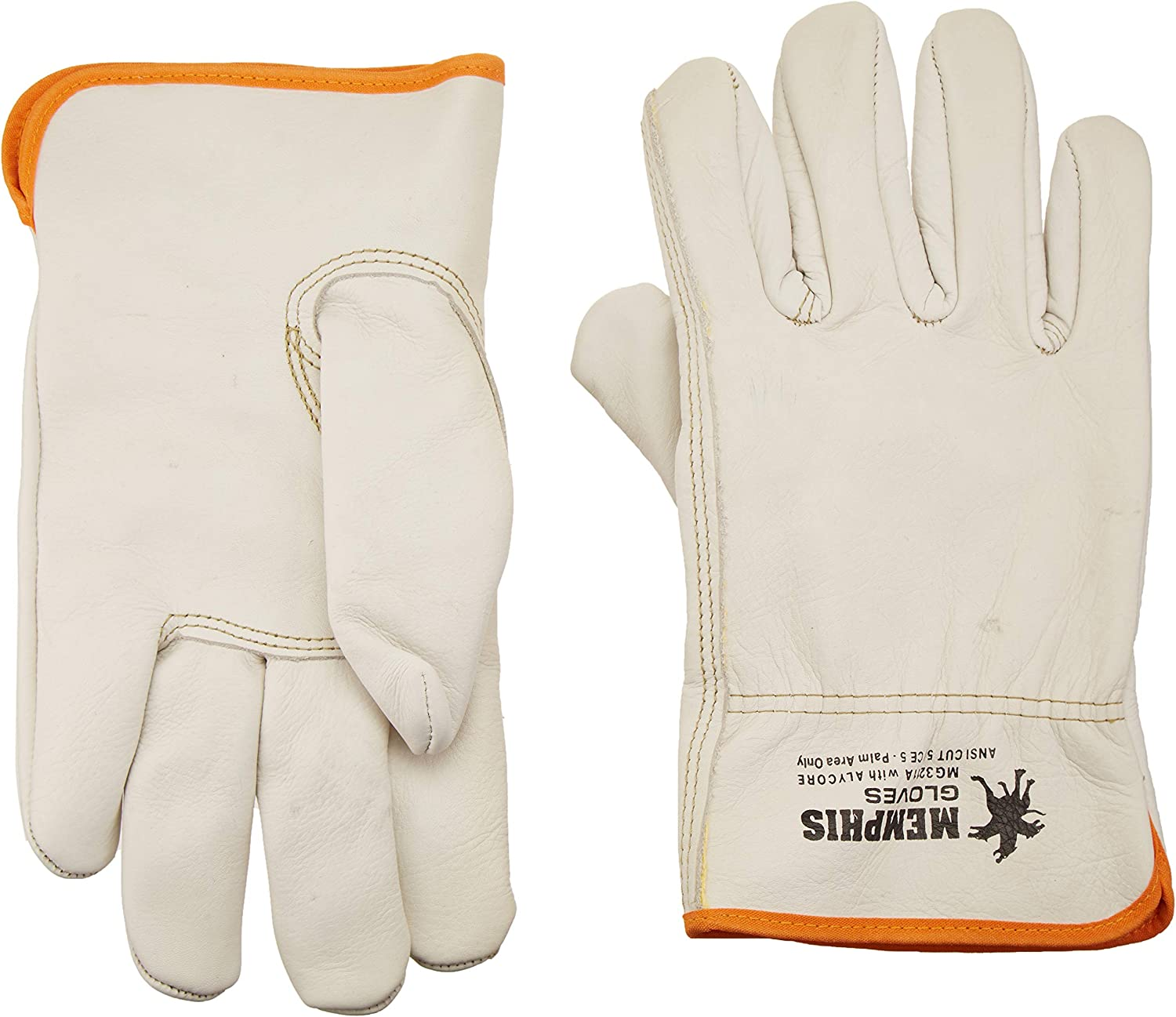 4-PAIR ECONOMIC DRIVER WORK GLOVES KEYSTONE COW GRAIN WITH SPLIT LEATHER BACK L
