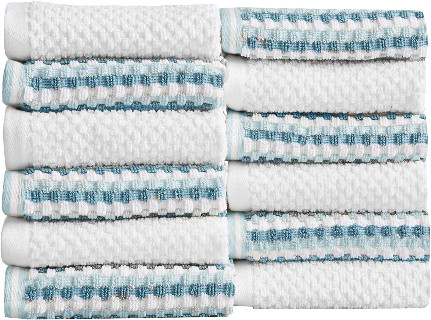 12-Piece Washcloth Set. 100% Cotton Multi-Striped Bathroom Towels. Quick Dry and Absorbent Towels. Set Includes 12 Washcloths. Milos Collection (12 Pack, Light Blue / Dark Blue)