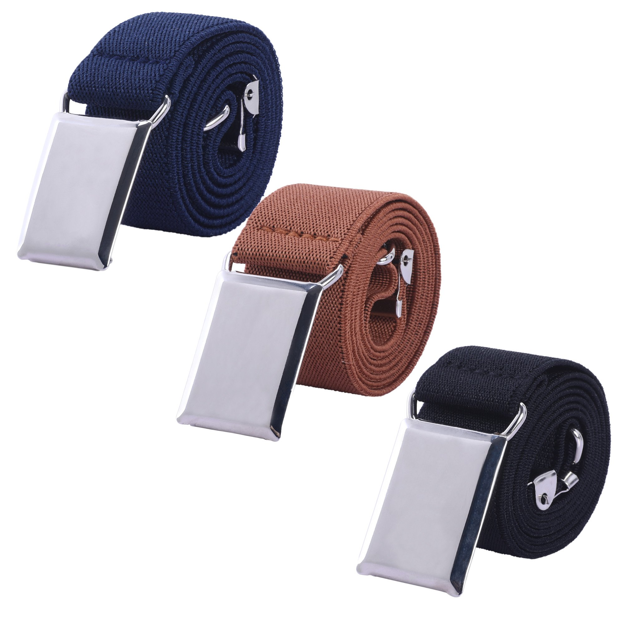 Toddler Boy Kids Buckle Belt - Adjustable Elastic Child Silver Buckle Belts for Girls, 3 Pieces (Navy blue/Brown / Black)