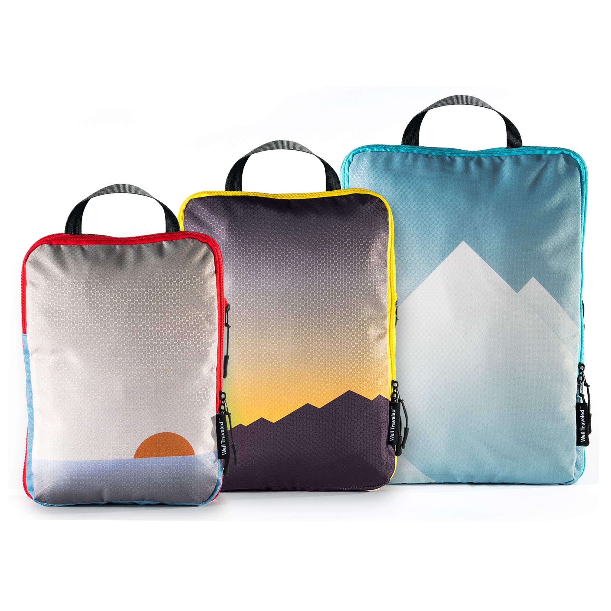 Well Traveled - 3pc Compression Packing Cubes for Travel - Luggage Organizer, Suitcase Organizer & Backpack Organizer with Space Saver Travel Bags for Packing Clothes, Travel Gear & Travel Accessories by Well Traveled