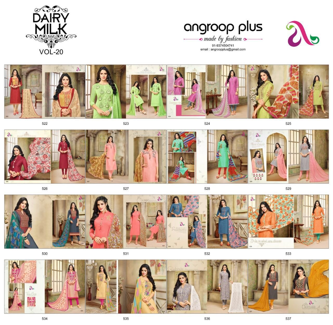 DAIRY Milk VOL-20 16 Pcs Chanderi Cotton Fine Embroidery Salwar Kameez by PANCHAL Creation -03