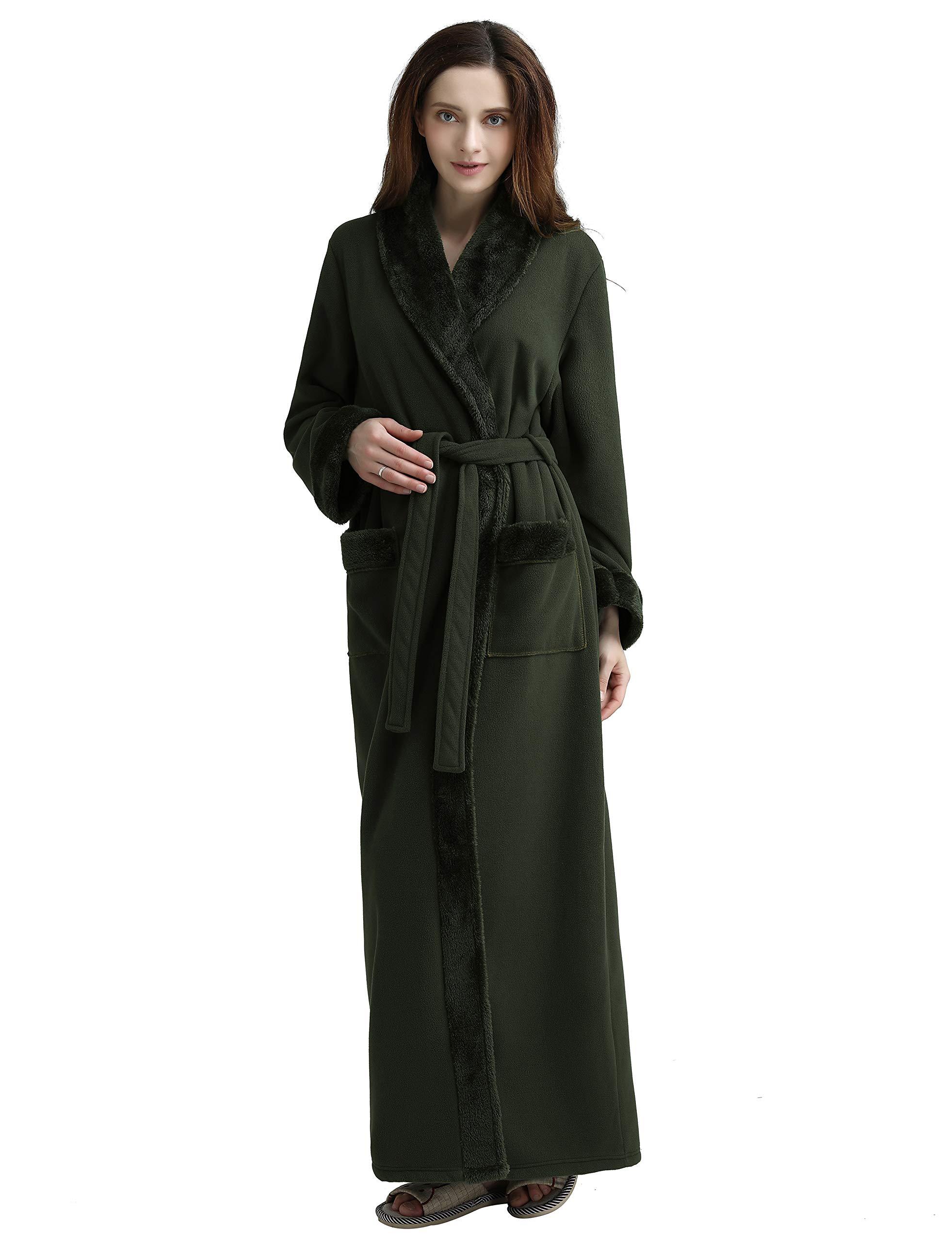SEEU Fleece Robes for Women, Winter Warm Bathrobe Green XL