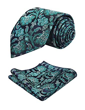 b0908655f Alizeal Mens Floral Pattern Tie and Handkerchief Set (Dark Green