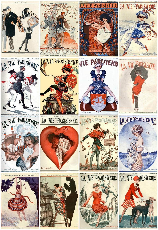 Card Making Labels Decoupage Crafts Vintage Printed Art DecoLa Vie Parisienne Reproduction Magazine Covers Images Collage Sheet #108 Scrapbooking