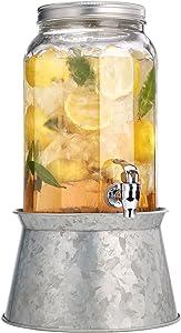 Palais Glassware Mason Jar Beverage Dispenser - Traditional Tin Screw Off Lid - 1.5 Gallon Capacity - With Ice Bucket Base (Silver w/Paneled Glass Jug)