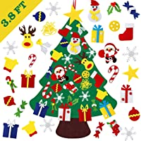 DIY Felt Christmas Tree, YanYoung Felt Christmas Tree Set, 30 Pcs Detachable Ornaments, Christmas Window Door Wall…