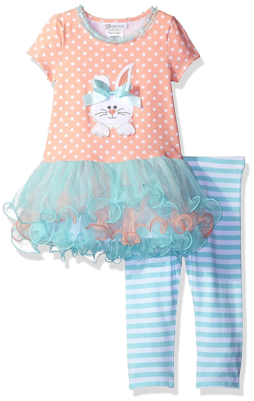 Bonnie Jean Girls Short Sleeve Appliqued Knit Tutu Playwear Set