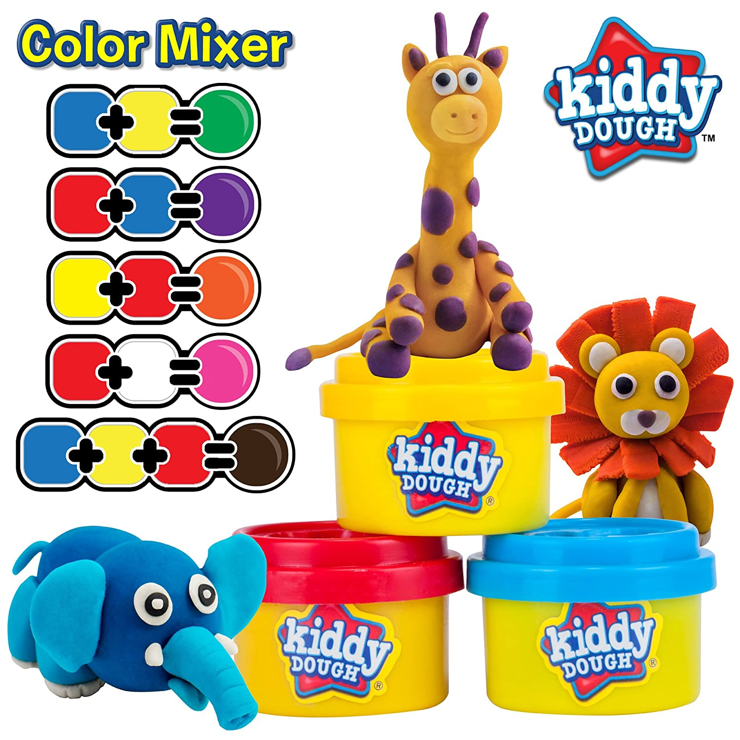 40 Shapes /& Numbers Dough Tools Includes Molded Animal Shaped Lids Holiday Edition - 1oz Tubs - 40oz Total KIDDY DOUGH 40 Pack of Birthday Party Favors Bulk Dough /& Clay Pack Creative Kids