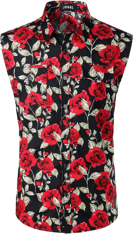 JOGAL Mens Sleeveless Flower Casual Button Down Hawaiian Shirt