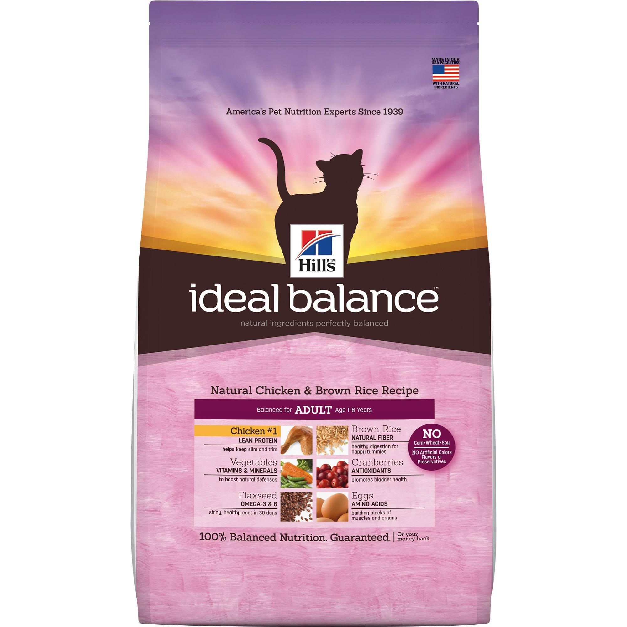 Hill's Ideal Balance Adult Natural Cat Food, Chicken & Brown Rice Recipe Dry Cat Food, 15 lb Bag