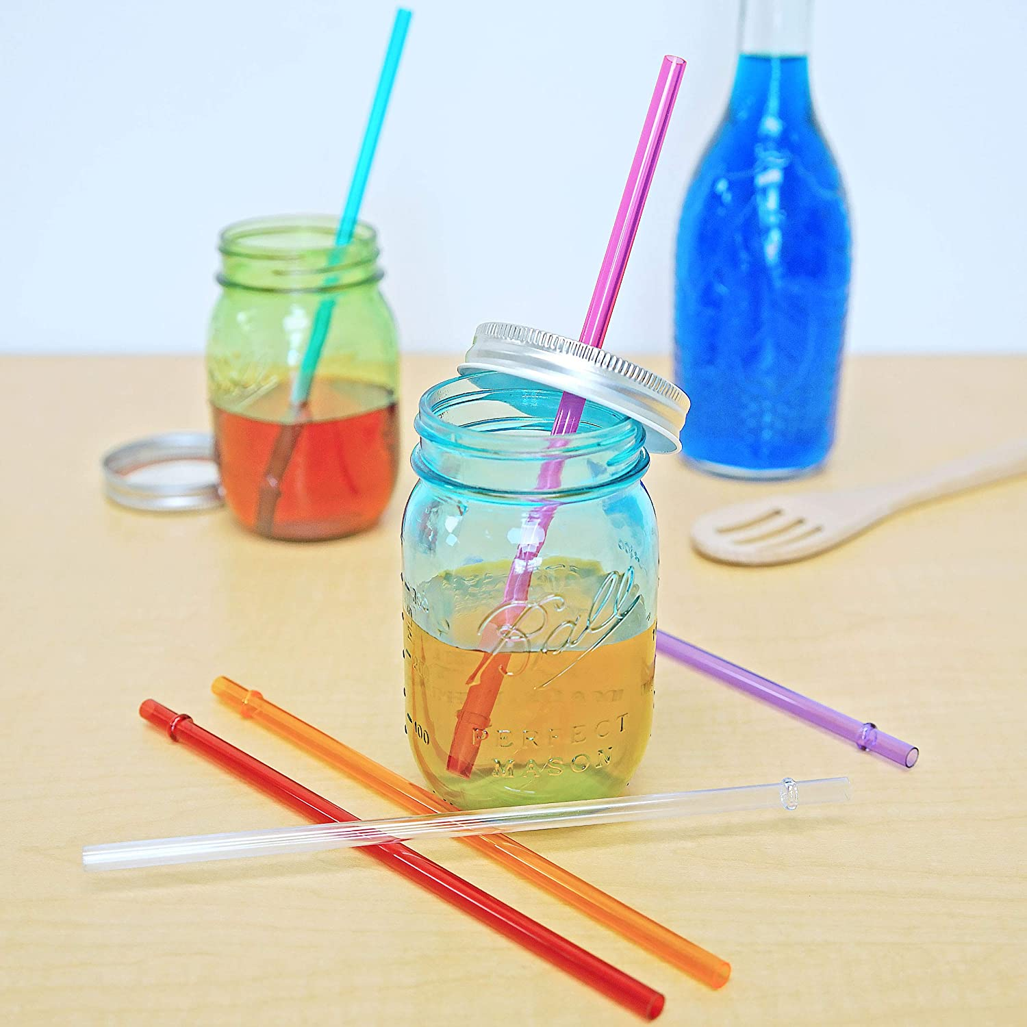 53c3d7e5e5f Southern Homewares Acrylic Rainbow Colored Drinking Straws-Set of 6 10, 12,  16, and 20oz Fits Tervis Tumblers-New Replacements: Amazon.co.uk: Kitchen &  Home