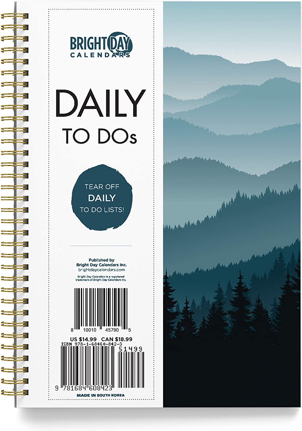 To Do List Daily Task Checklist Planner Time Management Notebook by Bright Day Non Dated Flex Cover Spiral Organizer 8.25 x 6.25 (Treeline)…