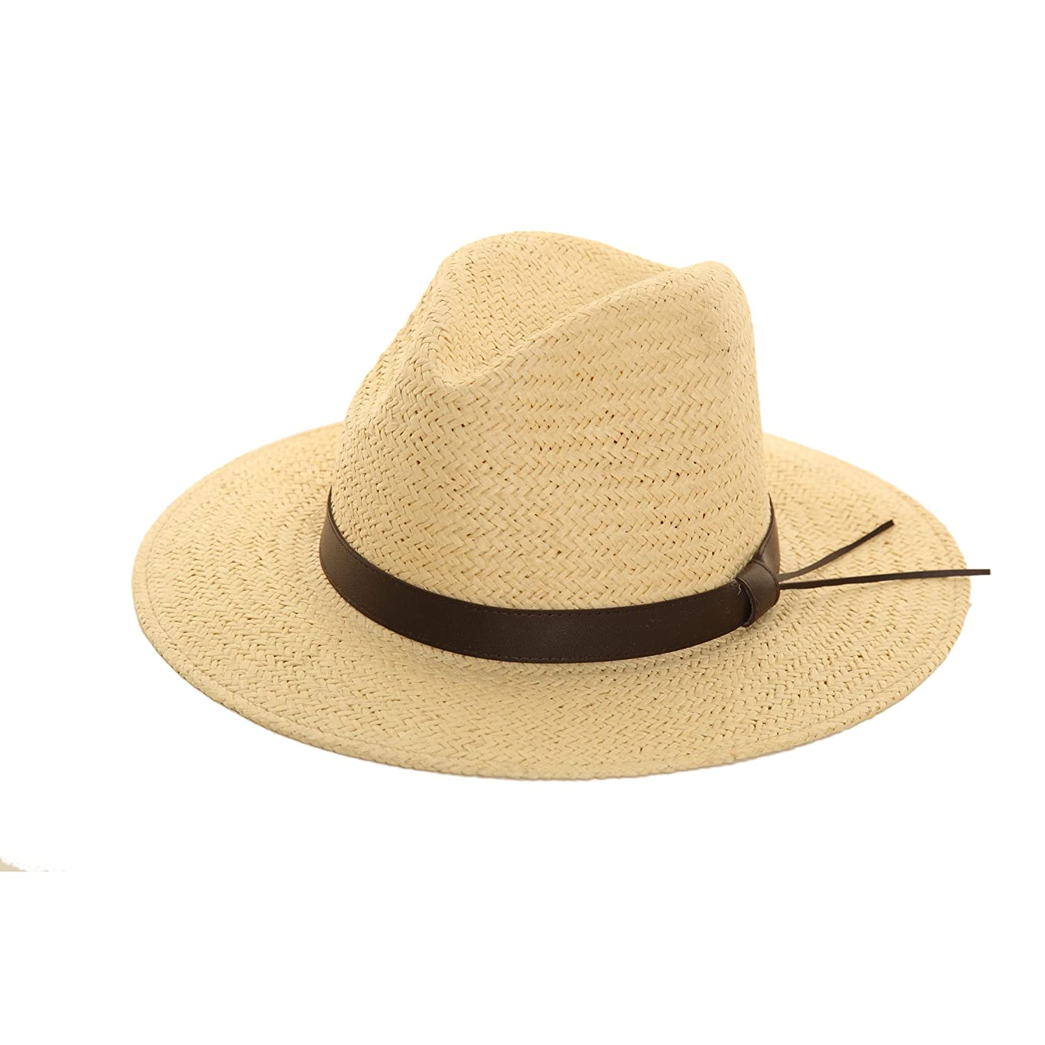 STRAW CRUSHABLE FOLDABLE PACKABLE SUMMER FEDORA, PANAMA TRILBY HAT WITH BROWN FAUX LEATHER BAND