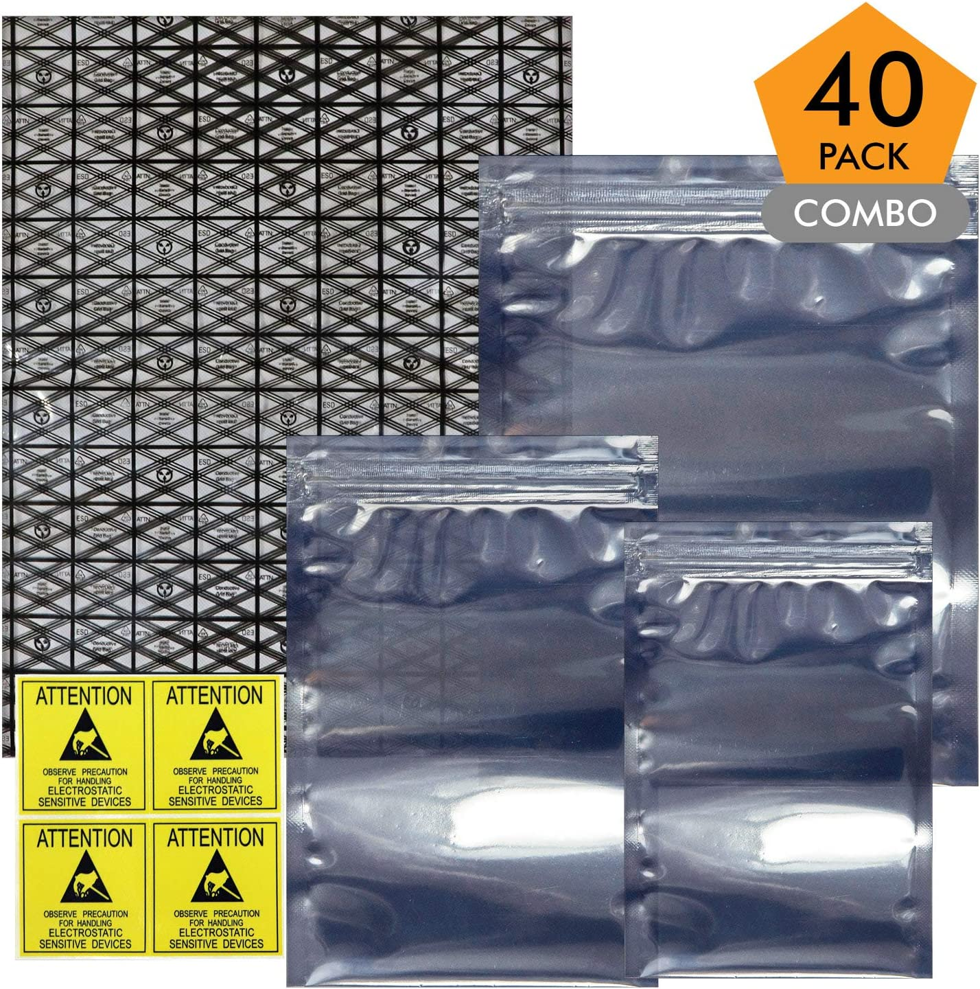 Open Top & Resealable Antistatic Bags ESD Shielding Bag with Anti-static Labels for Hard Drive SSD HDD Motherboard Video Card RAM Electronic Devices (Pack of 40) (Assorted Sizes)