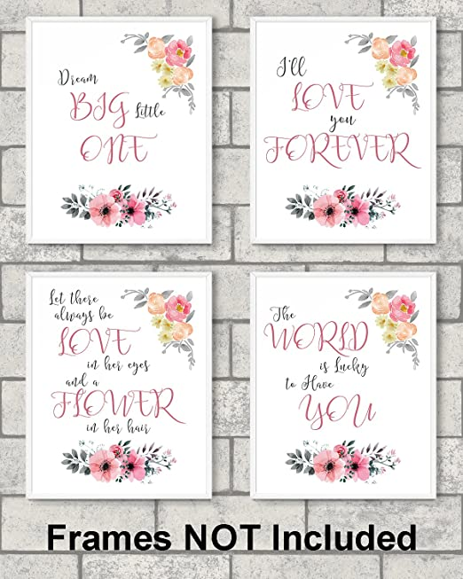 8 x10 Gold Heart Nursery Prints for Baby Girl /& Children Room Decor /& Decorations Perfect for Baby Shower Gift Ideas /…